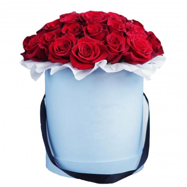 """Розы в шляпной коробке """"Лед и пламень"""""""