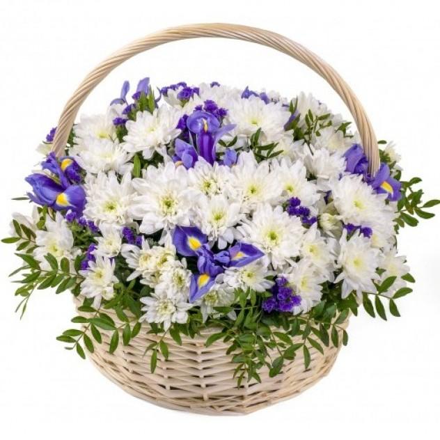 """Корзина с цветами """"Сливочная ириска"""""""